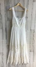 Free People Caught Your Eye Tiered Maxi Dress White Lace Trim 8 M