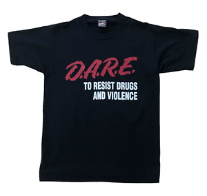 DARE To Resist Drugs and Violence Vintage 80s 90s Slogan Graphic USA T-Shirt