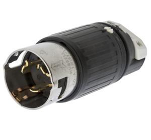 HUBBELL WIRING DEVICE-KELLEMS CS6365C 50A Twist-Lock Plug 3P 4W 125/250VAC BK/WT