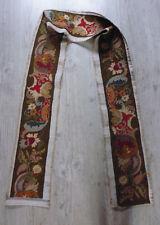 ancien textile broderie bande canevas fait main style renaissance 16e 17e 264x21