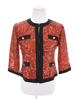 Michael Simon Red Black Cropped Sequin Evening Jacket Formal Womens Sz PM Pet M