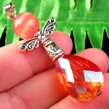 M15408 Orange Titanium Crystal Teardrop Tibetan Silver Wing Pendant Bead