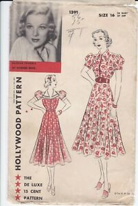VINTAGE 40'S HOLLYWOOD WOMENS DRESS PATTERN SEWING PATTERN #1391