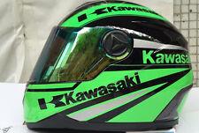 Kawasaki Full Face Sport Bike Motorcycle Helmet Green Black XL
