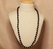 Black Beaded necklace gold spacers Vintage