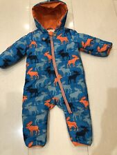 Hatley Baby Boys, Blue,Moose Print, Winter Quilted Snowsuit - Age 12-18 Months.