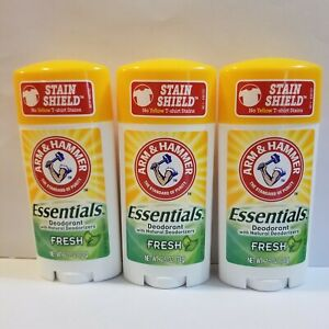 Arm & Hammer Essentials Deodorant - Lot of 3 x 2.5 oz. ea - Fresh Scent