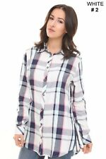 Womens Check Shirt Ladies Long Sleeve Plaid Check Summer Mini Dress UK Size 8-16
