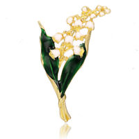 Enamel White Floral Leaf Brooch Pin Bouquet  Shirt Collar Pin Women Jewelry
