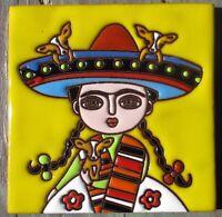 "Talavera Pottery 4"" tile Mexico FRIDA Lemon Yellow Chihuahua sombrero puppies"