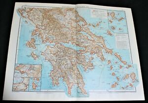 GERMAN ATLAS MAP PAGE PLATES OF BALKANS GREECE SICILY PRE WWI EARLY 1900s