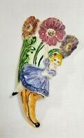 Vintage Ceramic Wall Pocket Vase Lady Colorful Flowers USA Pottery 1961