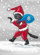 SET OF 2 ACEO XMAS BLACK CAT PRINT OF PAINTING RYTA SANTA FOLK ART GIFT winter