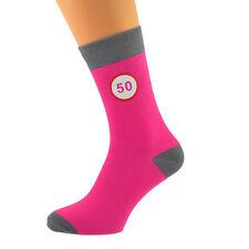 Hot Pink & Grey Unisex Socks Road Sign 50th Birthday X6N588