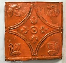 "8"" x 8"" Antique Tin Ceiling Tiles*See Our Salvage Videos* Crush Soda Orange C61a"