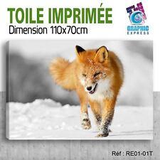 110x70cm - TOILE IMPRIMEE- TABLEAU  POSTER DECO -  RENARD - RE1-01T
