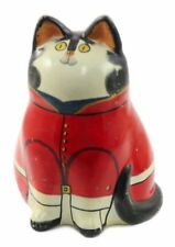 Ceramic Black White Cat in Red Coat Christmas Ornament Holiday Decoration