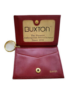Vintage Red Buxton Genuine Leather Card Holder Wallet W/ Key Ring Keychain VTG