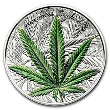 2016 ~1000 FRANCS~BENIN ~ CANNABIS SATIVA ~ COLORIZED SILVER ~ MINT BOX ~ C.O.A.