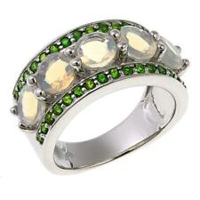 Colleen Lopez Ethiopian Opal & Chrome Diopside Sterling Silver Band Ring Size 6