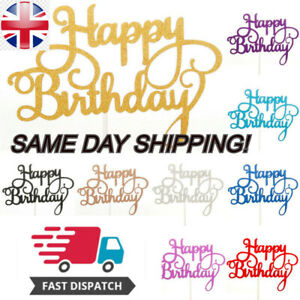 Happy Birthday Cake Toppers Glitter Calligraphy Bling Sparkle Decoration Topper