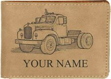 60's Mack Truck Leather Billfold With Drawing & Your Name On It-Nice Quality