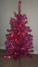 WH Smith Pink Holographic Christmas Tree with Lights, 3ft high, 90cm, boxed