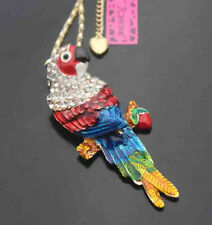 H579H    Betsey Johnson Crystal Enamel Parrot Pendant Sweater Chain Necklace