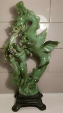 A. Santini Made in Italy Faux Jade Dragon Slayer Asian Sculpture Statue on Base