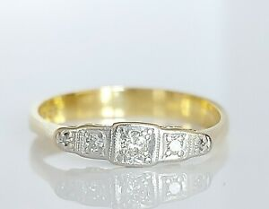 Beautiful Antique Art Deco 18ct Gold & Platinum Diamond Five Stone Ring UK Q