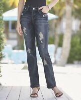 Midnight Velvet Rhinestone Animal Trim Dark Denim Stretch Jeans Size 6 24W PLUS