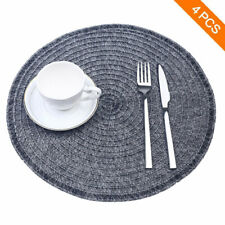 Round Placemats, Woven Heat Resistand PVC Placemat Non-Slip Table Mats Set of 4