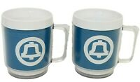 Vtg Bell Telephone Employee Coffee Plastic Mug Cup Logo Blue White Set of 2
