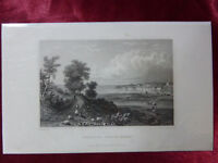Antique engraving VIEW of BEMBRIDGE from ST HELENS, ISLE OF WIGHT c1830 Veduta