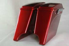 "Ember red sunglo 4"" ABS both cutouts 6*9 speaker lid saddlebags for Harley 93-13"