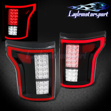 2015 2016 2017 Ford F-150 Pickup Full LED Red Black Brake Tail Lights Pair