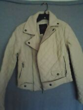 Juniors New York YOKI Faux Leather Quilted Cream Colored Bomber Jacket Small
