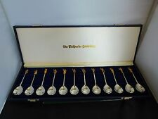 SCARCE VINTAGE SET OF THE TICHBORNE CELEBRITIES SOLID SILVER SPOONS - CASED COA