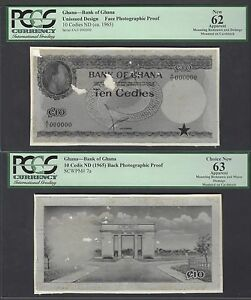 Ghana 10 Cedis ND 1965 P7a  Photograph Face - Back Proof