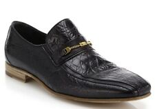 New Versace Black Crocodile Print Leather Runway Loafers Shoes 44 - 11