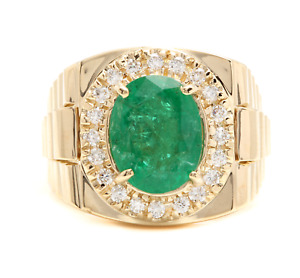 6.20Ct Natural Emerald and Diamond 14K Solid Yellow Gold Men's Ring