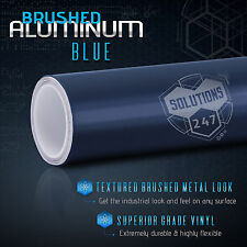 "24""x60"" Inch Blue Brushed Aluminum Vinyl Wrap Sticker Decal Air Bubble Free (A)"