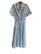 New listing Vintage 40s Blue Flocked Dressing Gown Tailored By Joan Iris