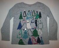 NEW Gymboree Girls Holiday Christmas Tree Top 5 6 7 8 year Gray Long Sleeves