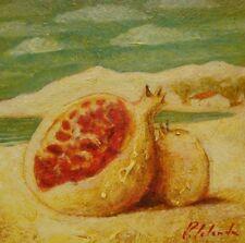 Peinture  surréaliste, grenade, plage, mer.