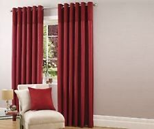 Luxury Faux Silk with Suede Top Border Lined Eyelet Curtains in Red 90 x 72""