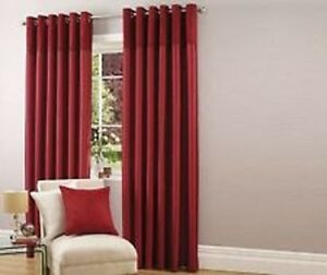 """Luxury Faux Silk with Suede Top Border Lined Eyelet Curtains in Red 90 x 72"""""""