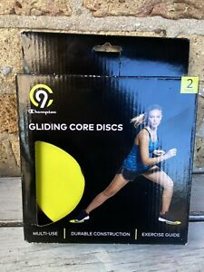 Champion Gliding Core Discs (2) Exercise Guide Yellow/Black Carpet or Wood Floor