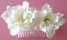 """Double 2.5"""" Cream White Apple Blossom Silk Flower Hair Comb,Bridal,Pin Up"""