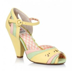 Bettie Page Shoes Marlee High Heel Retro Yellow Green and Pink Pastels Peeptoe